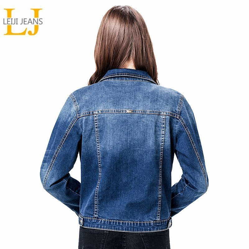 Denim Single Breasted Turn-down Collar & Full Sleeve Plus Size 6XL Jackets
