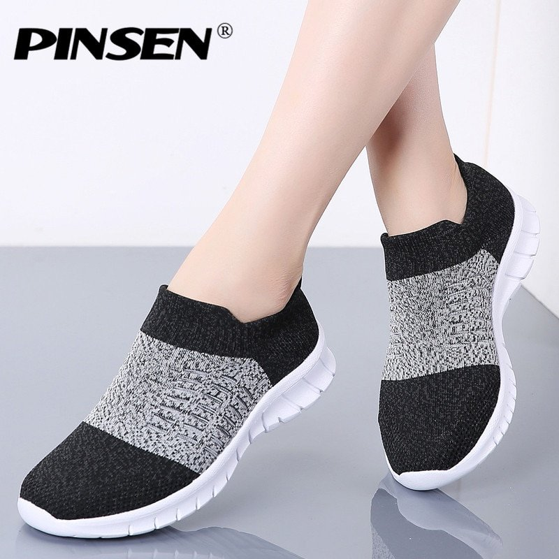 Breathable Air mesh & Cotton Fabric Slip-on Flats Sneakers Shoes