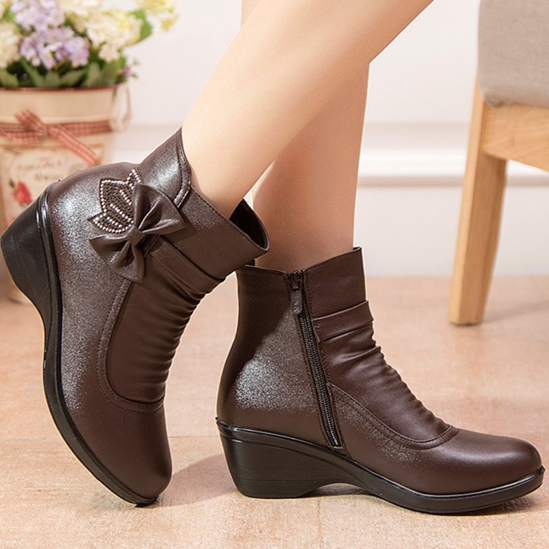 Butterfly-knot Microfiber & Short Plush Lining Ankle boots with Zipper