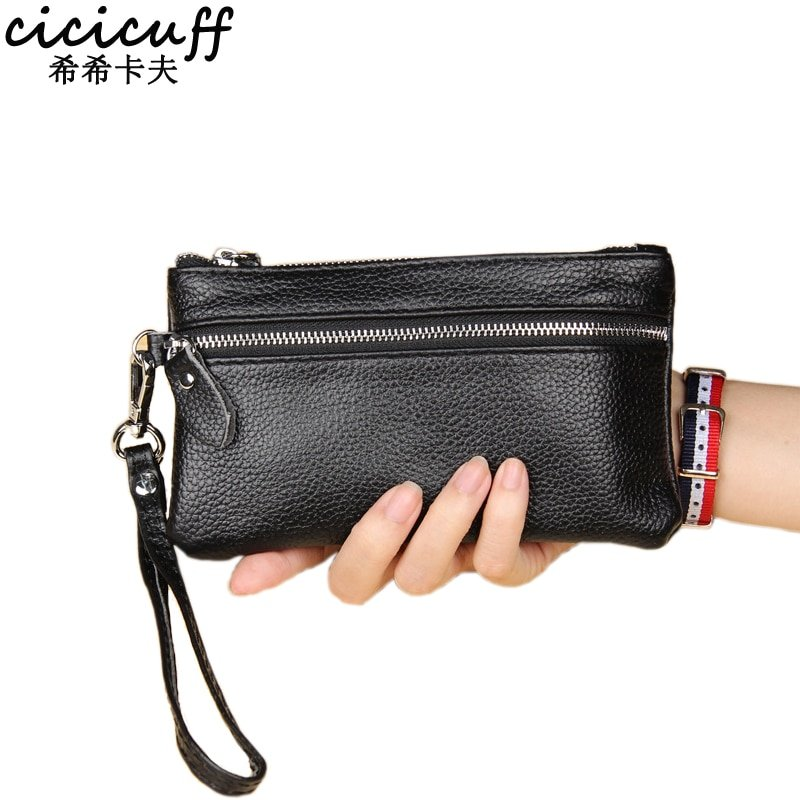 Genuine Leather & Flap Shape Wristlets Bag with Interior Compartment