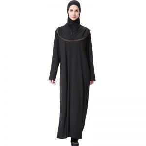 Black Abaya Dress with hooded hijab with gold trimming included