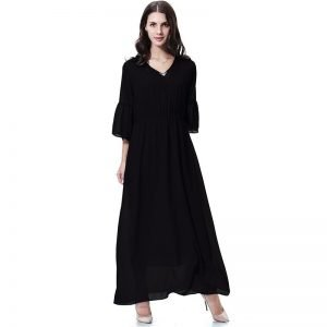 Plain Black Abaya Dress V Neck 3/4 Sleeve Chiffon Dress with Patchwork