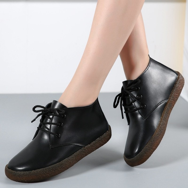 Rubber Genuine Leather & Round Toe Ankle Boots with Lace-Up