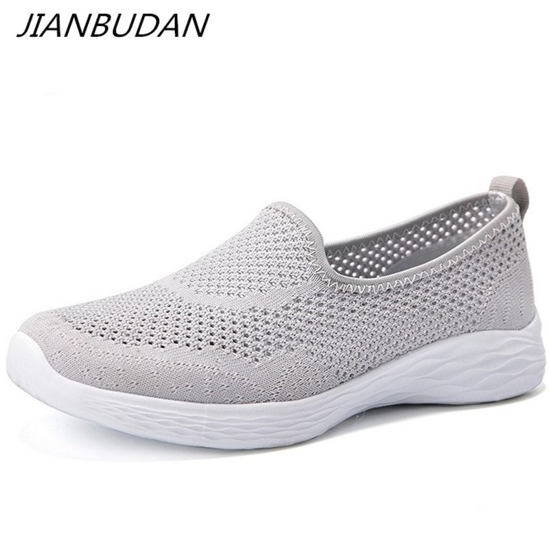 Lightweight Air mesh & Synthetic Leather Flat Sneakers Shoes with Slip-on