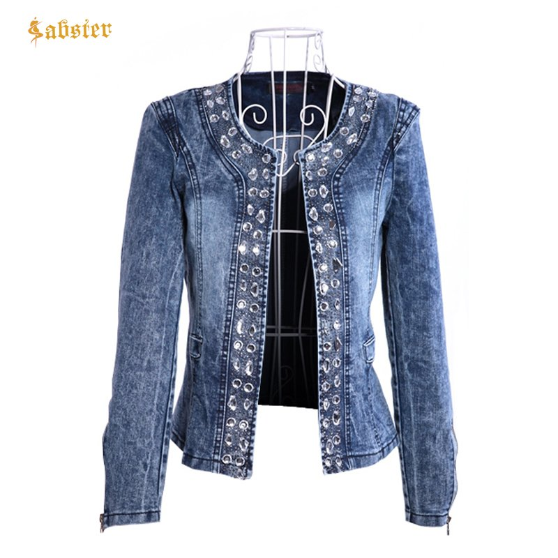 Denim Open Stitch O-Neck & Long Sleeve Outerwear Jackets with Diamond Beaded