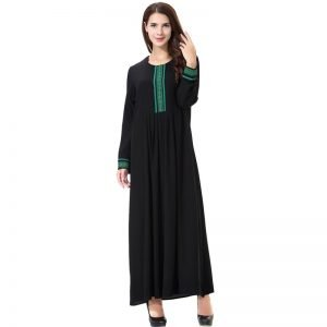 Abaya Black Dress O Neck Long Sleeve Plus Size S-3XL with Appliques