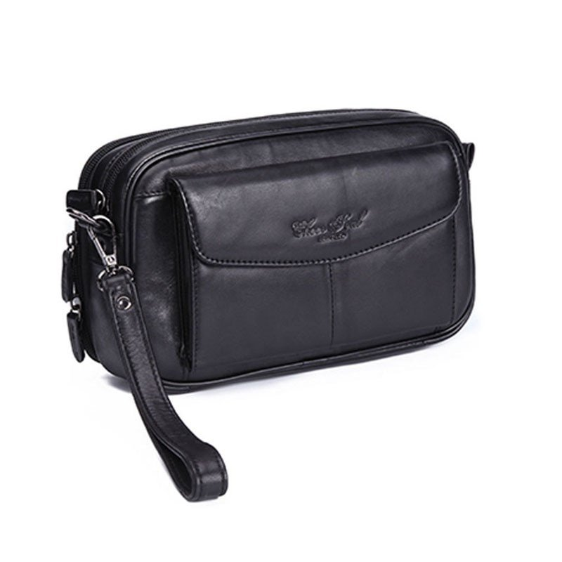 Casual Genuine Leather Solid Pattern & Soft Wristlets Bag with zipper