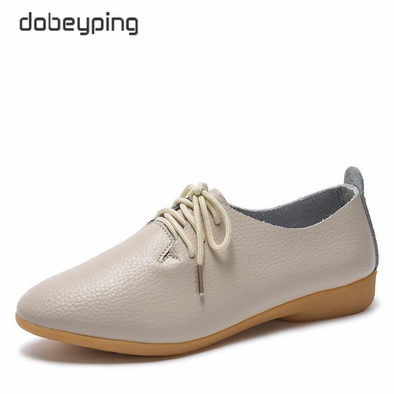 Genuine Leather Pointed Toe & Rubber Flats Shoe with Lace-Up