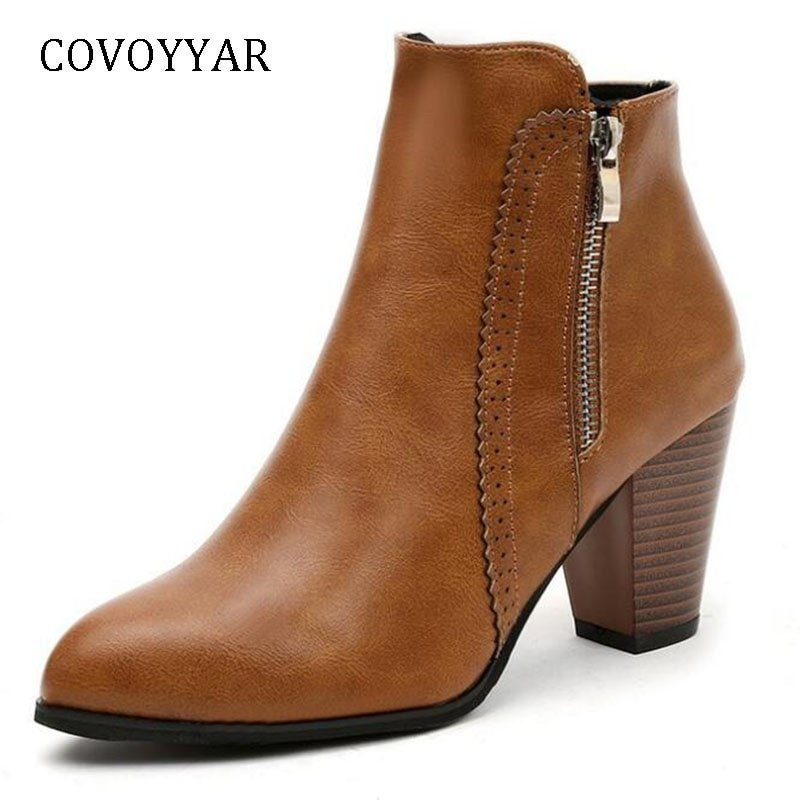 Vintage Block Heel Rubber & PU Leather Ankle Boots with Side Zipper