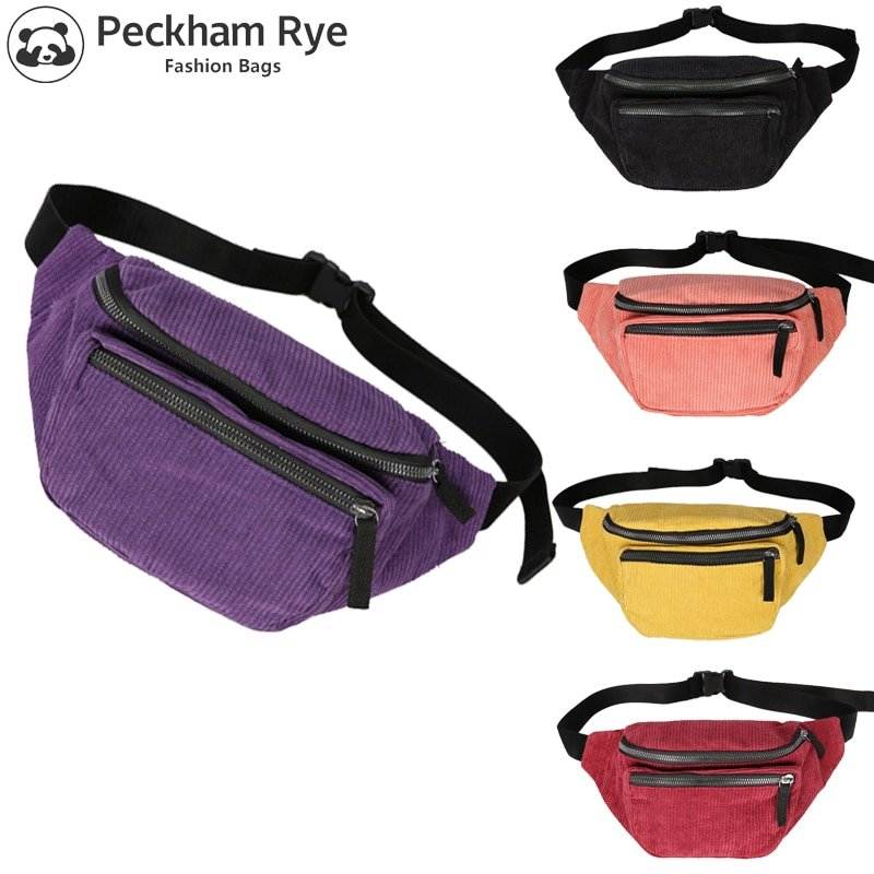 Corduroy Pillow Shape & Solid Color Waist bags for Travelling