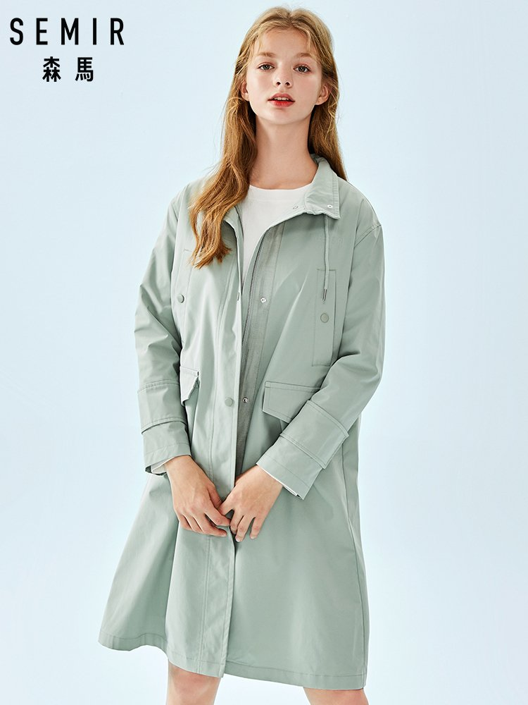 Stand-up Collar & Full Sleeve Wide-waisted Trench Outerwear Coat with Pockets