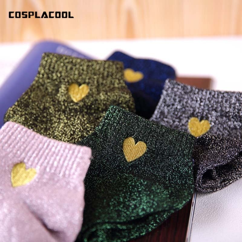 Elegant Colorful Embroidery Heart Glitter Shining Silk Socks