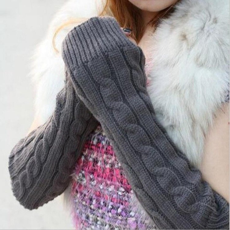 Knitted Cotton Elbow length & Fingerless thick Warm Gloves