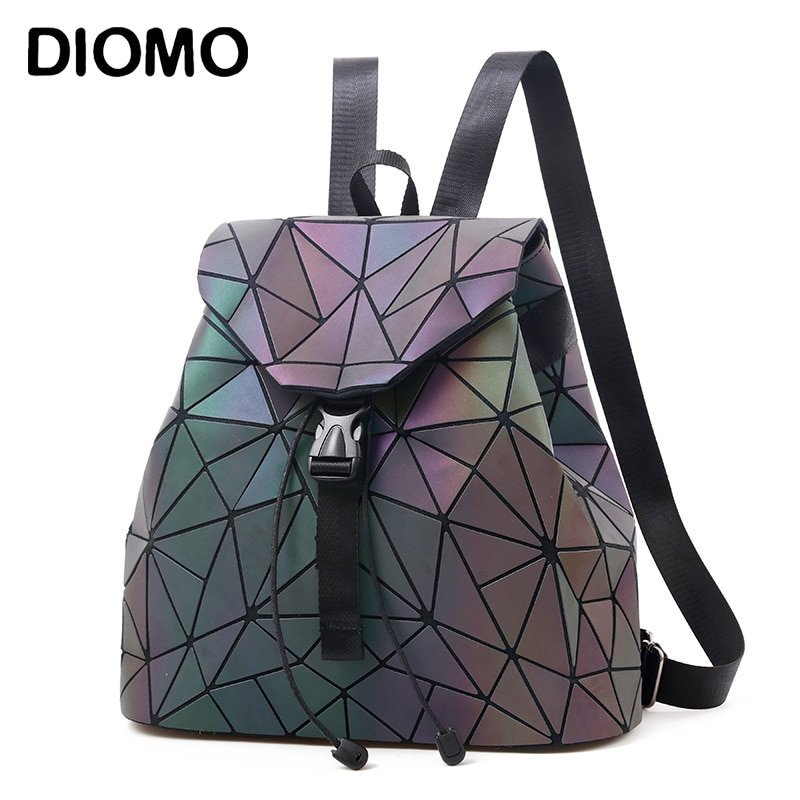 Luminous Geometric Pattern & Holographic Backpacks with Soft Handle Strap