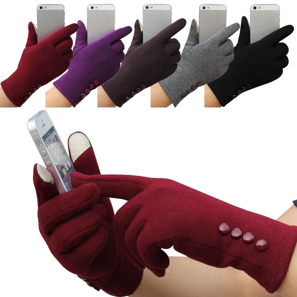 Latest Fashion Touchscreen & Wrist Length Warm Gloves with Buttons