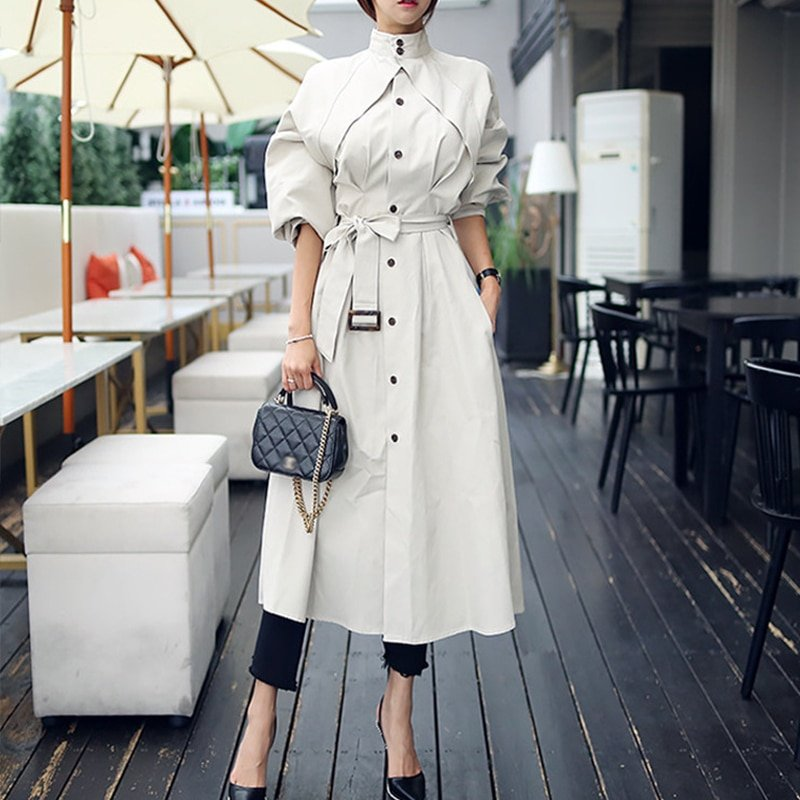 Turtleneck & Puff Sleeve Cotton Trench Outerwear Coat with pockets