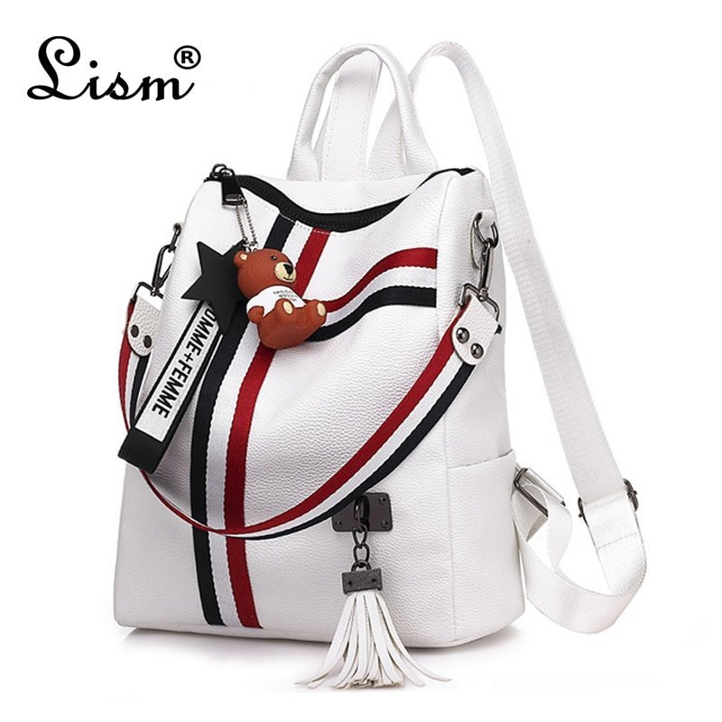PU  Leather & Tassel decor Backpacks with Soft Handle Strap