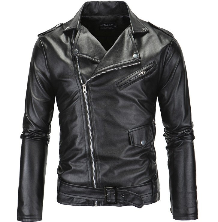Plus Size 4XL Turn-down Collar & Polyester Lining + PU Leather Jackets with Pockets