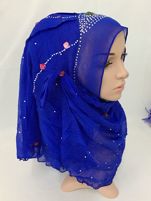 Crystal Beaded Solid Color Knitted Fabric & Comfortable Soft Instant Hijab