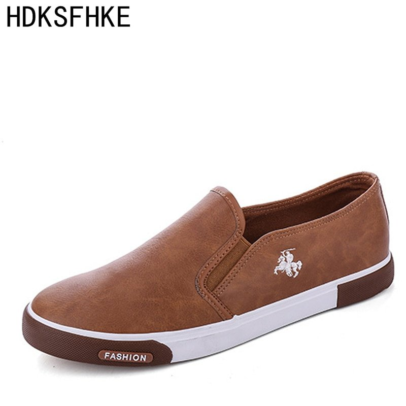 New Casual PU + Canvas Breathable & Solid Loafers Shoes with Slip-on