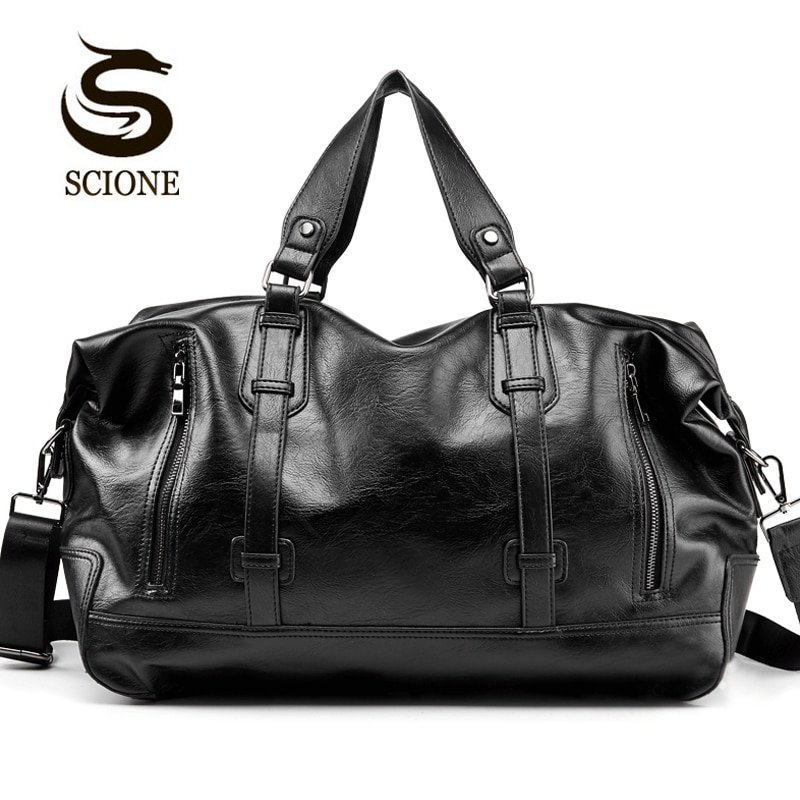 Black Color Solid Pattern PU Leather & Soft Travel Handbags with Large Capacity