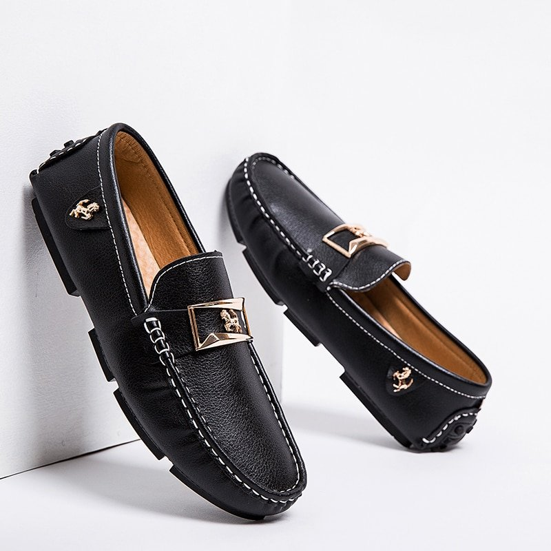 Plus Size 48 Black/Blue Color & Rubber + PU Loafer Shoes with Metal Design