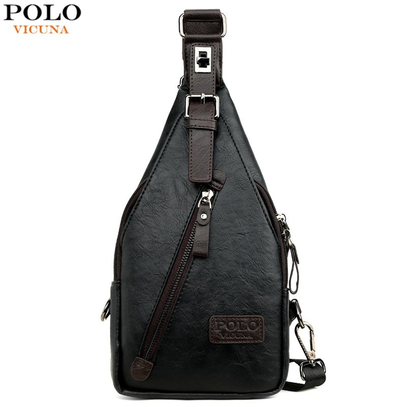Single Strap Silt Pocket & PU Leather + Polyester Crossbody Bag with Buckles