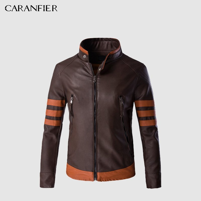 Plus Size 5XL Knitted Fabric & Long Sleeve PU Leather Jackets Coffee Color