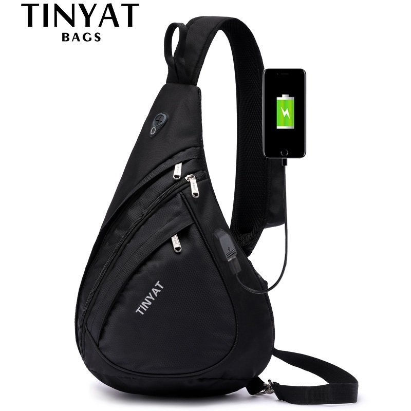 Casual Solid Pattern Soft & Nylon Waterproof Crossbody Bag with USB Port
