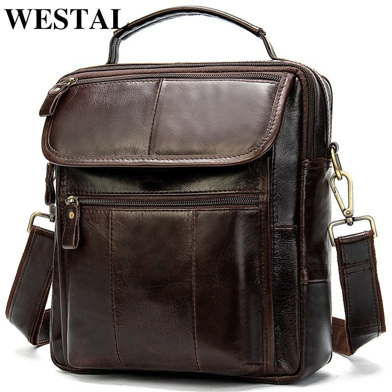 Genuine Leather + Polyester Lining & Soft Crossbody Bags with Hasp Closure