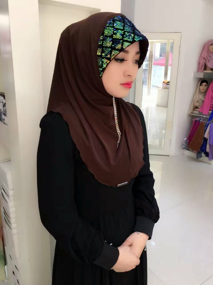 Comfortable Cotton Soft & Stretch Instant Hijab with Seqins Decor