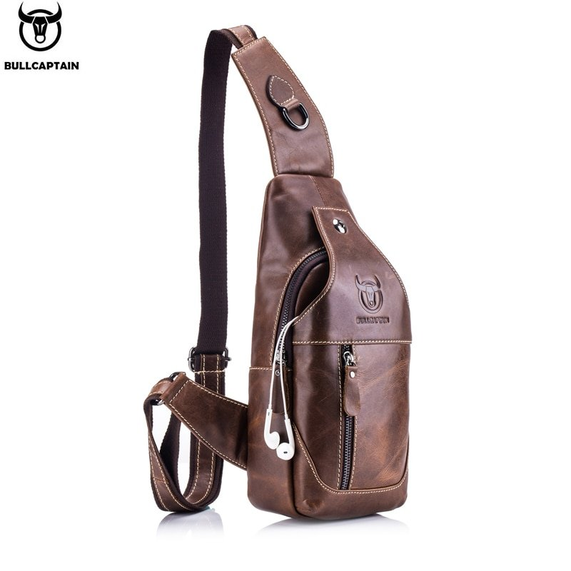 Flap Shape Interior Compartment & Genuine Leather Crossbody Bags with Button