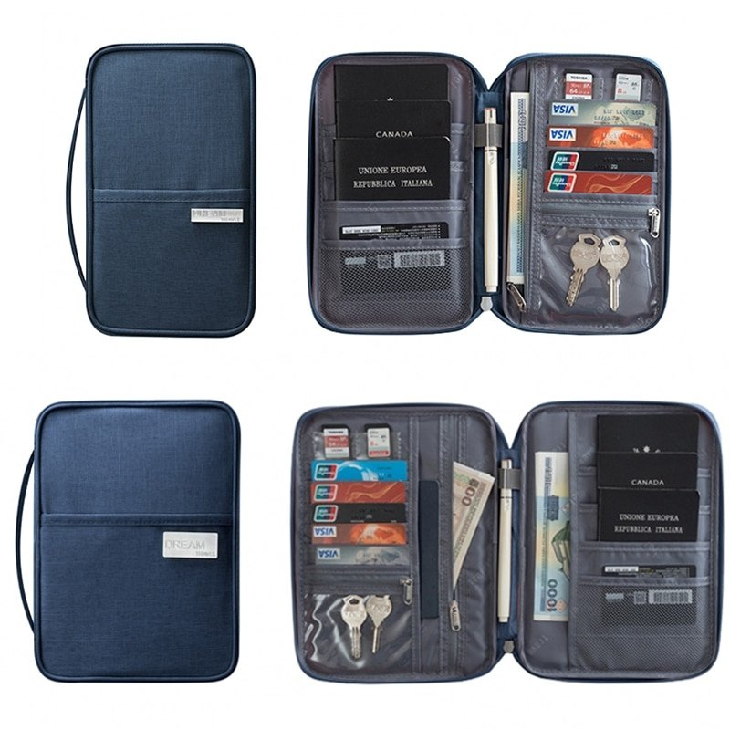 Solid Pattern Oxford zipper & Card/Passport Holder Travel Accessories with Waterproof