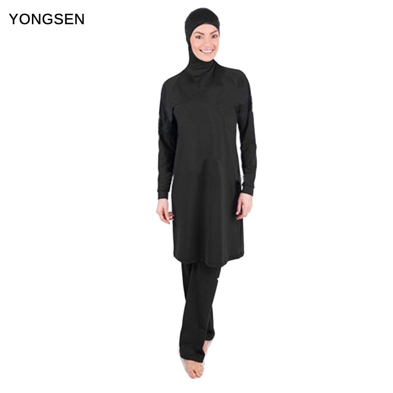 Solid Plain Color Full Cover & Loose Long Sleeve Burkinis Swimsuit set