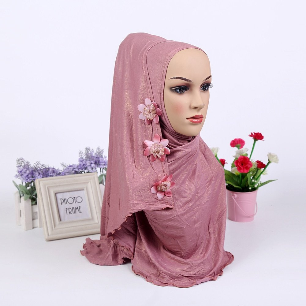 Flowers Decor Knitted Fabric & Polyester Shining Instant Hijab