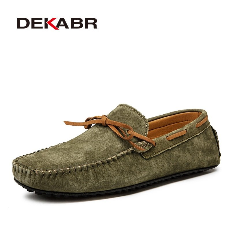 Multi-color Plus Size 15 & Genuine Leather Loafers Shoes with Knotted design