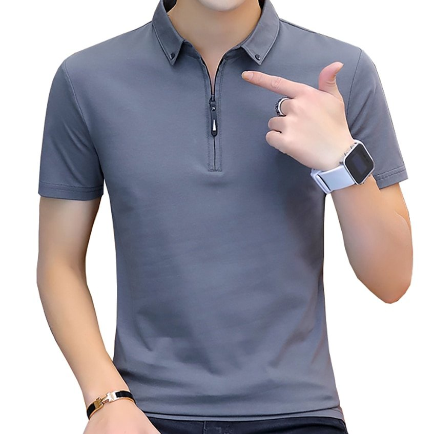 Cotton + Spandex Short Sleeve & Turn-down Collar T Shirt with zipper