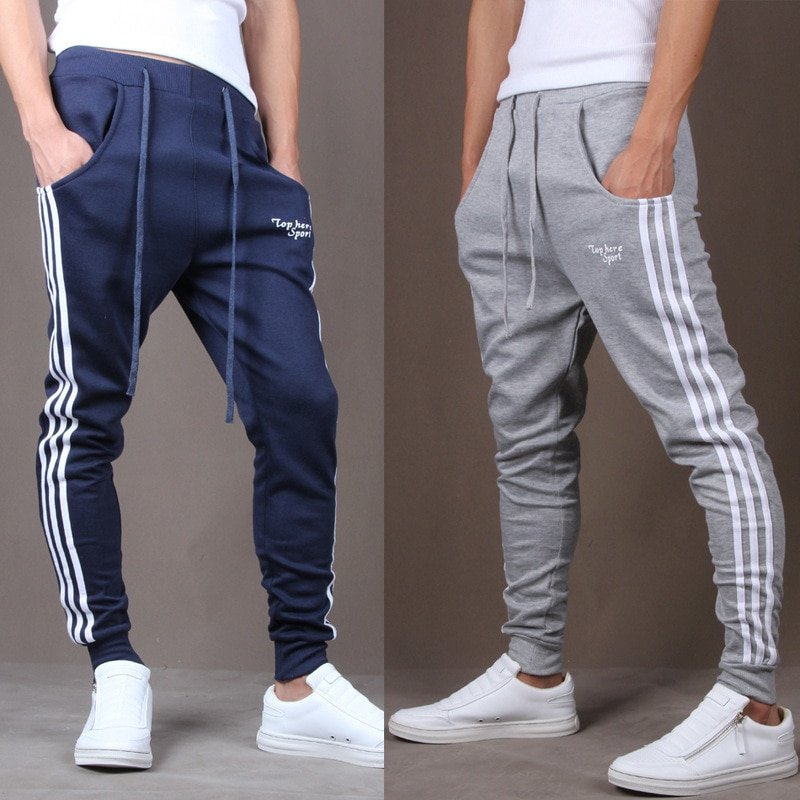 Striped Pattern Full Length & Cotton + Polyester Sweatpants with pockets