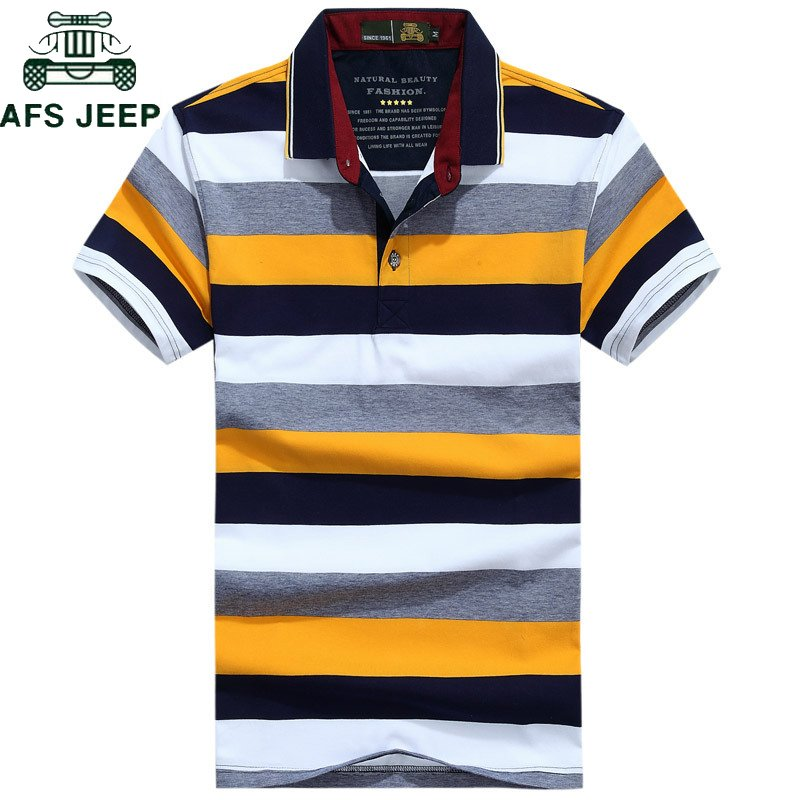 Striped Pattern Gradient Color & Turn-down collar T-Shirts with Short Sleeve