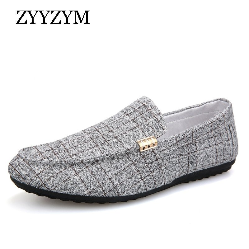 Plaid Pattern Lightweight & Slip-On Rubber + Canvas Loafer Shoes with Flat Heel