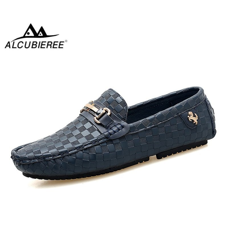 Checked Pattern Round Toe & Genuine Leather Loafer Shoes with Slip-on