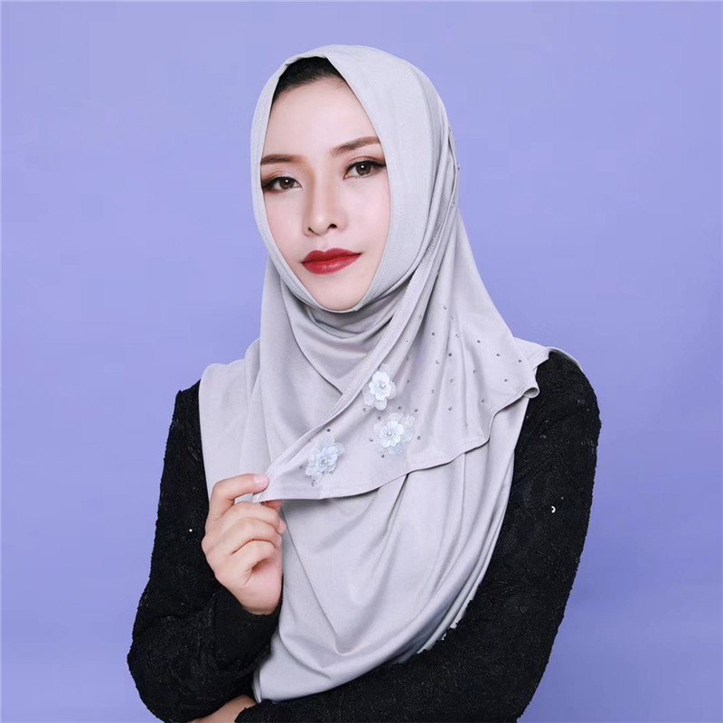 Comfortable Diamond Beads Cotton Instant Hijab with Flowers Decor