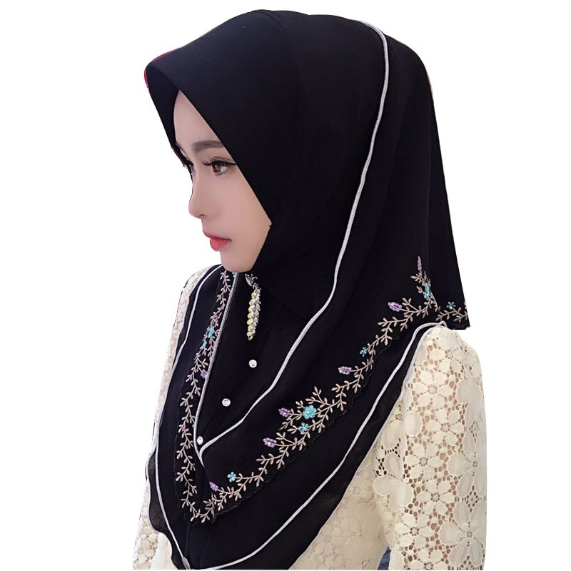 Chiffon + Cotton Fabric & Soft Instant Hijab with Flowers embroidery