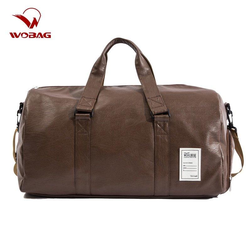 PU Leather + Polyester Lining & Solid Pattern Travel Bags with zipper