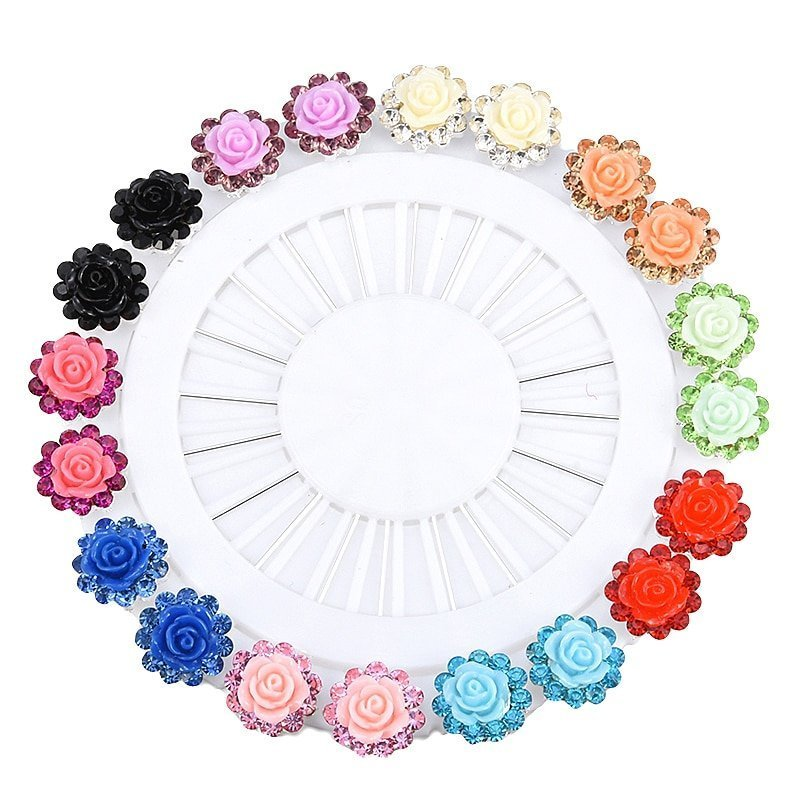 New Trendy Floral Pattern Acrylic & Zinc Alloy Metal Hijab Pins with Crystal