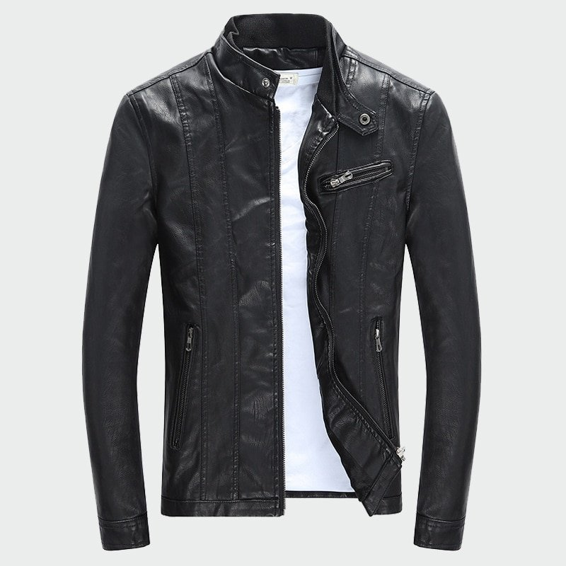 Mandarin Collar Polyester Lining & Batik Fabric PU Leather Jackets with Pockets