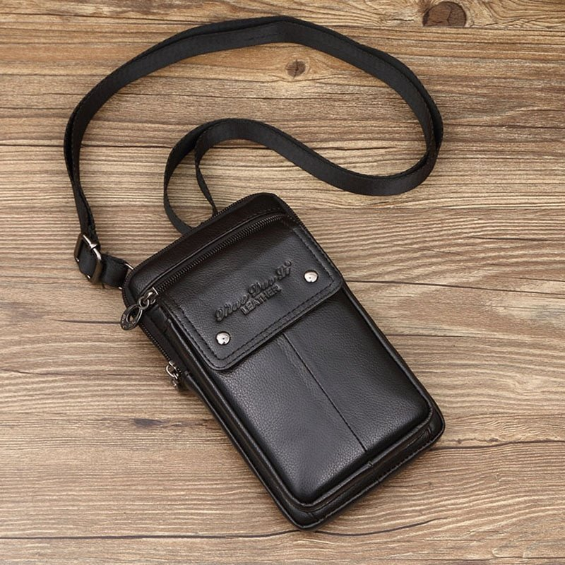 Genuine Leather + Polyester Lining & Flap Crossbody Bag with Interior Compartment