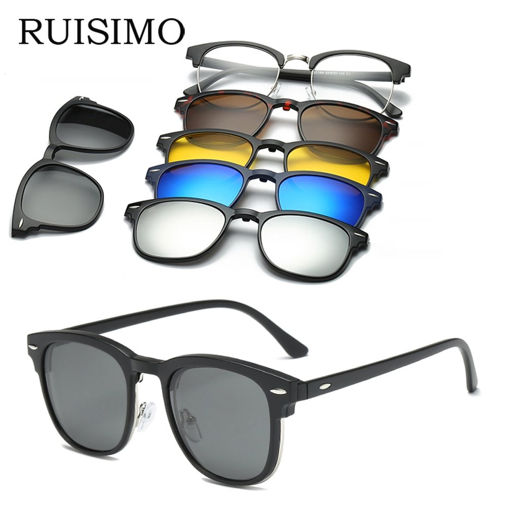 Anti-Reflective Mirror Lenses & Plastic Frame Clip on Sunglasses Eyewear