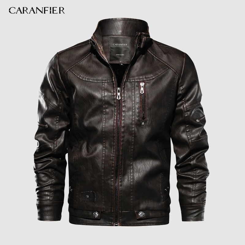 Solid Color Mandarin Collar & Cashmere + Leather Jackets with Pockets