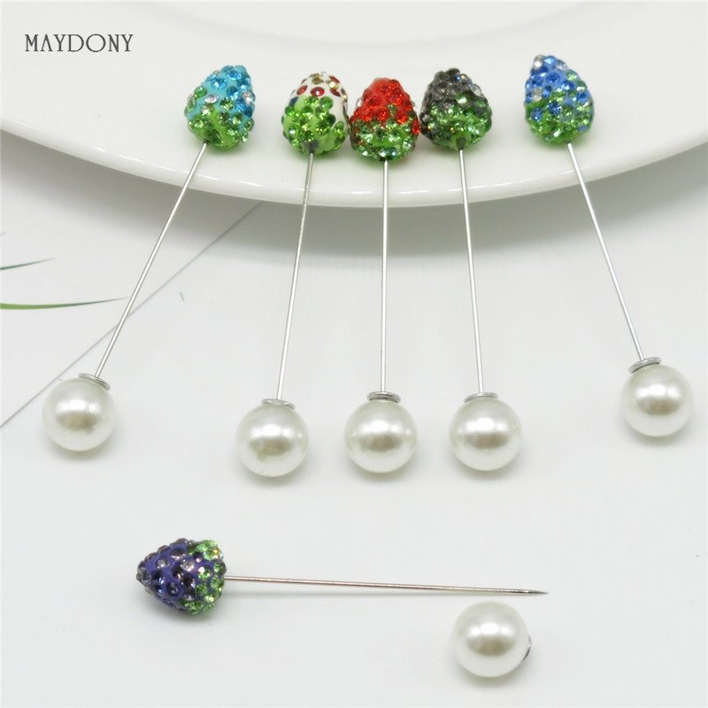 Classic Resin Material & alloy Metal hijab Safety Pins with Crystals